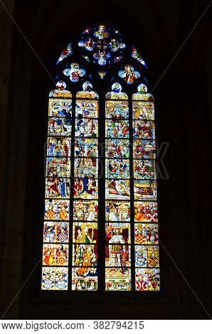 Cologne, Germany - 08.13.2017: Stained Glass Church Window Depicting Pentecost In The Dom Of Cologne