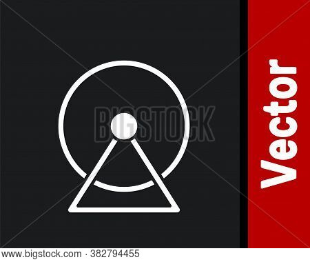 White Hamster Wheel Icon Isolated On Black Background. Wheel For Rodents. Pet Shop. Vector