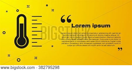 Black Meteorology Thermometer Measuring Icon Isolated On Yellow Background. Thermometer Equipment Sh