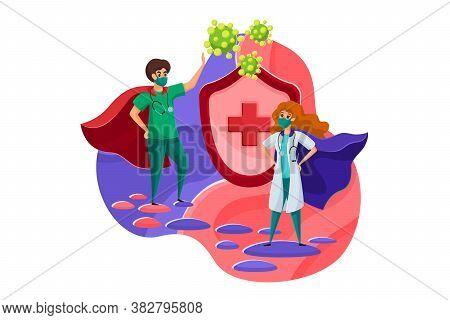 Healthcare, Medicine, Protection, Coronavirus Concept. Young Man And Woman Nurse Doctors Superheroes