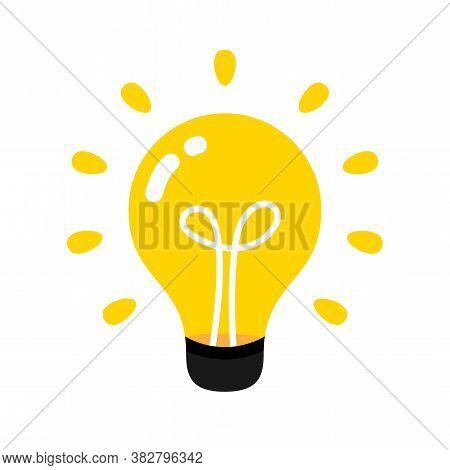 Light Bulb Icon, Idea Creative And Inspiration Symbol, Clip Art Light Bulb, Round Light Bulb Illustr