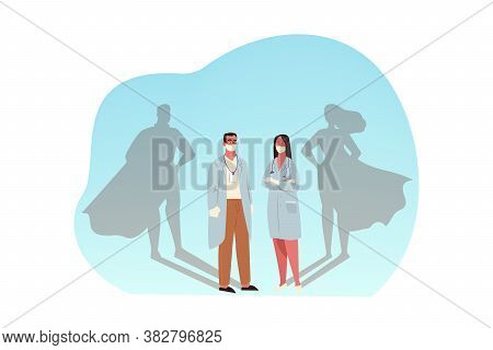 Healthcare, Medicine, Covid19, Infection, 2019ncov, Coronavirus, Protection Concept. Man And Woman D