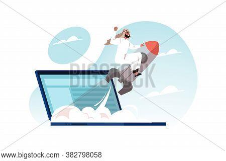 Motivation, Goal Achievemnt, Success, Business Startup Launch Concept. Young Motivated Happy Arab Bu