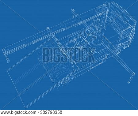 Tow Truck Vector. Isolated Wire-frame Of Breakdown Lorry. Wire-frame Line Isolated. Vector Rendering