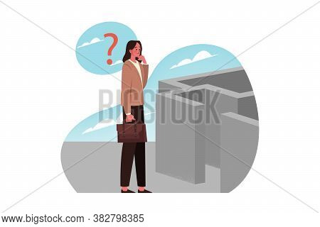 Problem, Trouble, Question, Thinking, Strategy, Search, Business Concept. Thoughtful Businesswoman C