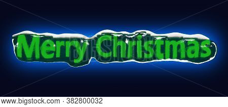 Green Inscription Merry Christmas Is Frozen In Ice On A Dark Background With Blue Backlight. 3d Rend