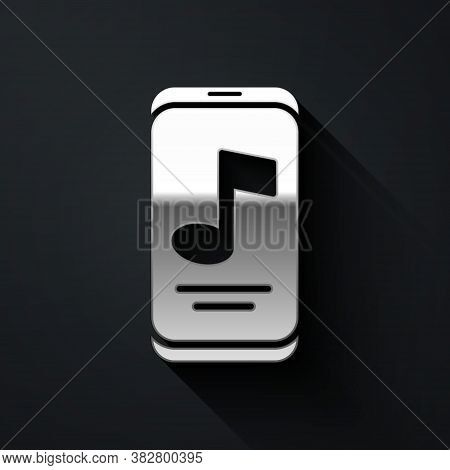 Silver Music Player Icon Isolated On Black Background. Portable Music Device. Long Shadow Style. Vec