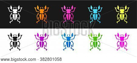 Set Beetle Deer Icon Isolated On Black And White Background. Horned Beetle. Big Insect. Vector