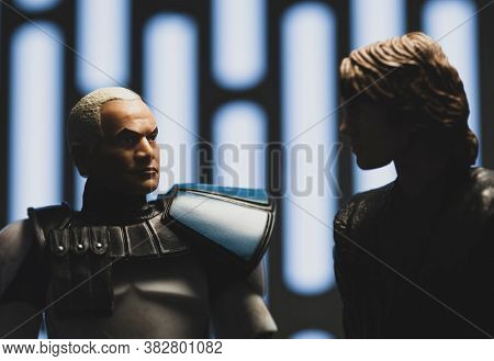 AUGUST 23 2020: Scene from Star Wars The Clone Wars with clone Captain Rex and General Anakin Skywalker - Hasbro action figures