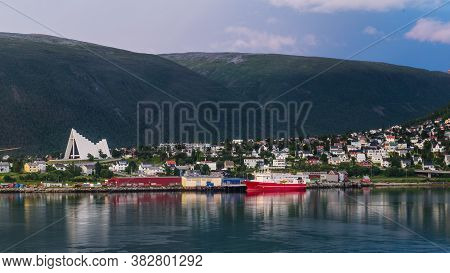 Skyline With Arctic Cathedral In Tromso In Northern Norway