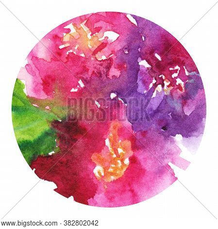 Watercolor pink purple flower floral peony rose carnation leaf boutonniere composition circle isolated art illustration