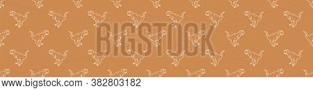 Seamless Background Cute Carnotaurus Dinosaur Gender Neutral Baby Border Pattern. Simple Whimsical M