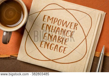 motivational leadership, coaching business or personal development concept - empower, enhance, enable and engage words, handwriting on napkin with a cup of coffee