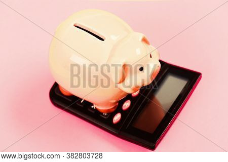 Investing Gain Profit. Pay Taxes. Calculate Taxes. Piggy Bank Pig And Calculator. Taxes And Charges