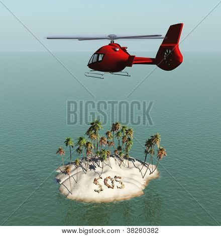 Helicopter approaching an island