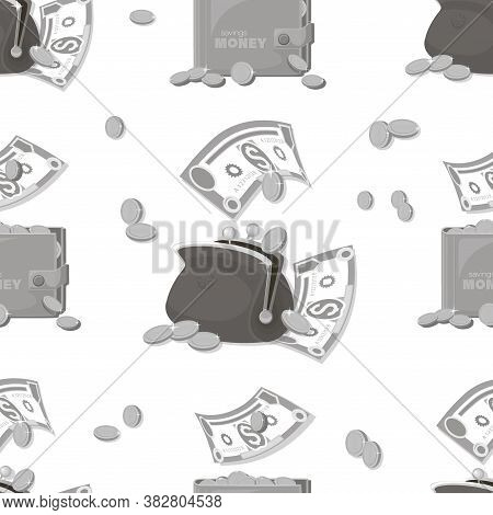 Money Pattern. Cash Background. Dollars Signs, Gold Coins. Falling Money Isolated On White Backgroun