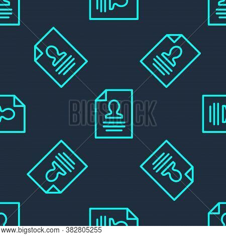 Green Line Resume Icon Isolated Seamless Pattern On Blue Background. Cv Application. Searching Profe