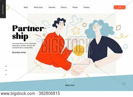 Business Topics -partnership, Web Template Header. Flat Style Modern Outlined Vector Concept Illustr