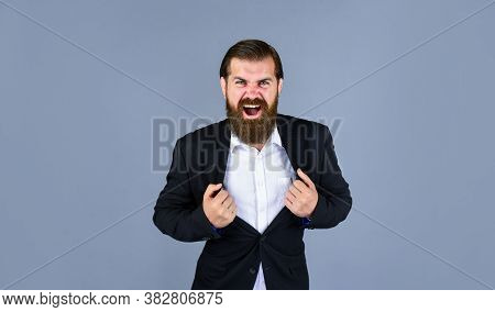 Aggressive Stylish Successful Man In Suit Posing. Business Man Wear Suit. Official Office Lifestyle.