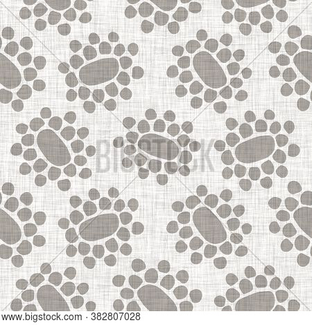 Natural Gray French Woven Linen Texture Background. Dotty Circle Eco Flax Shape Motif Seamless Patte