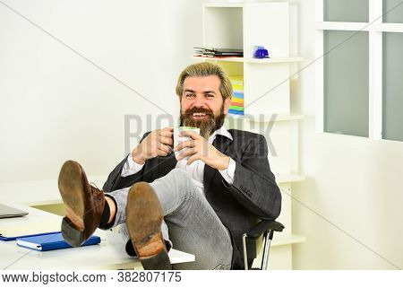 Businessman In Charge Successful Business Solutions. Developing Business Strategy. Man Bearded Boss