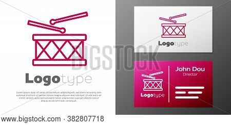 Logotype Line Musical Instrument Drum And Drum Sticks Icon Isolated On White Background. Logo Design