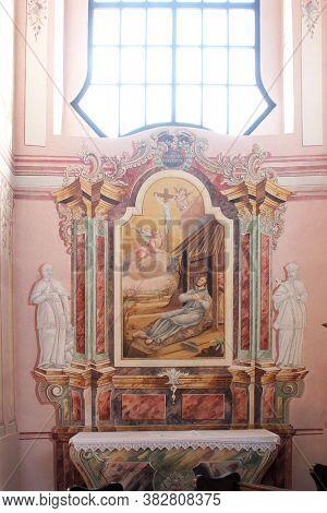 SELA KOD SISKA, CROATIA - SEPTEMBER 10, 2013: St. Francis Xavier, altar in the parish church of St. Mary Magdalene in Sela kod Siska, Croatia
