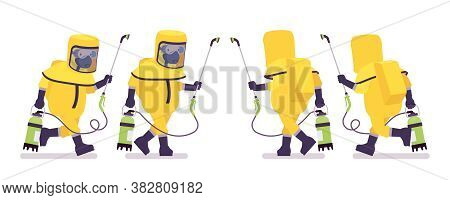 Man Wearing Yellow Hazmat Protective Clothing Running With Manual Pump Sprayer. Worker In Level A Su