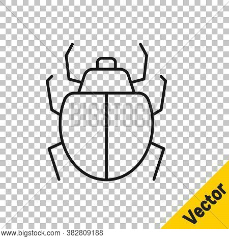 Black Line Mite Icon Isolated On Transparent Background. Vector