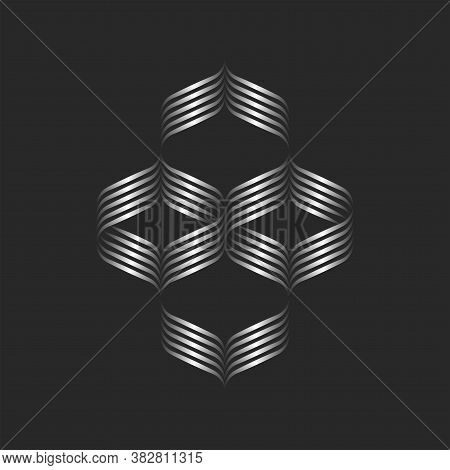 Calligraphic Pattern Logo Of Intertwining Gradient Curved Lines, Feminine Sophisticated Design Eleme