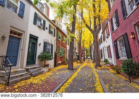 Autumn alleyway in a traditional neighborhood in Philadelphia, Pennsylvania, USA.