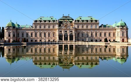 Wien, Vienna, Austria - August 28, 2014: Belvedere Palace And The Little Lake