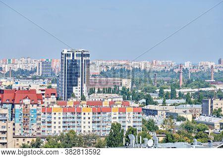 Voronezh, Russia - 22.08.2019 - Voronezh City Downtown Cityscape. Aerial View From Skyscraper. Busin
