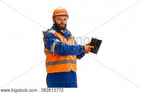 Using Device, Gadget. Handsome Contractor, Builder Isolated On White Background. Concept Of Professi