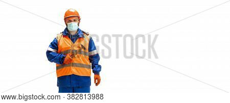 Handsome Contractor, Builder Isolated Over White Studio Background. Concept Of Professional Occupati