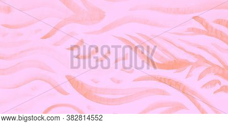 Modern Composition. Indian Illustration. Cerise Creative Textile With Cold Stripe. Abstract Decorati