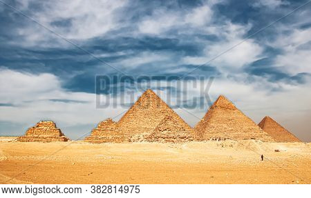 Ancient Great Pyramids At Giza, Cairo, Egypt