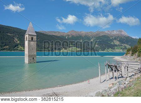 Lago Di Resia Or Reschensee (lake Reschen),val Venosta,south Tirol,italy