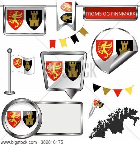 Glossy Icons With Flag Of Troms Og Finnmark County, Norway Country. Vector Image