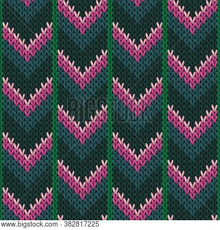 Soft Downward Arrow Lines Knitting Texture Geometric Vector Seamless. Ugly Sweater Knitwear Fabric P