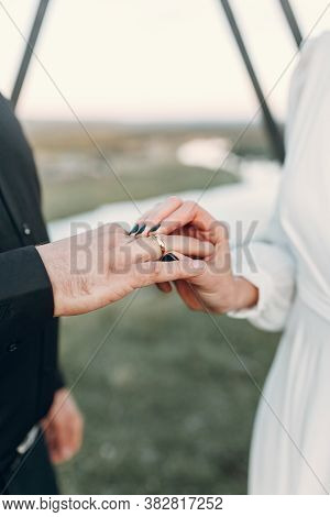 A Newly Married Couple Shows Off Their Wedding Rings. Rings On The Palm Of The Groom.
