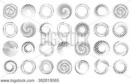 Set Of Black Thick Halftone Dotted Speed Lines. Speed Lines In Circle Form. Geometric Art. Design El