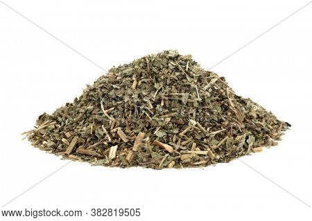 Pulsatilla herb leaf used in herbal medicine to treat headaches, insomnia, boils, asthma, lung diseases, earache, pre menstrual cramps & problems with male reproductive system.   Anenome pulsatilla.