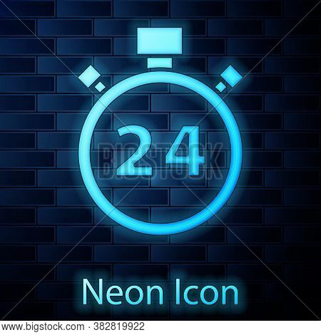 Glowing Neon Stopwatch 24 Hours Icon Isolated On Brick Wall Background. All Day Cyclic Icon. 24 Hour