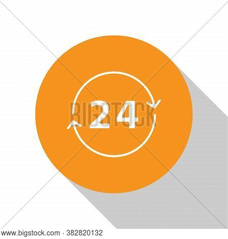White Clock 24 Hours Icon Isolated On White Background. All Day Cyclic Icon. 24 Hours Service Symbol