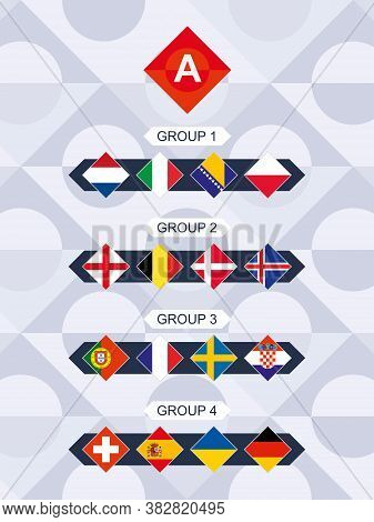 League A Flags, National Teams Flags Sorted By Group.