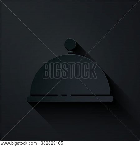 Paper Cut Covered With A Tray Of Food Icon Isolated On Black Background. Tray And Lid. Restaurant Cl