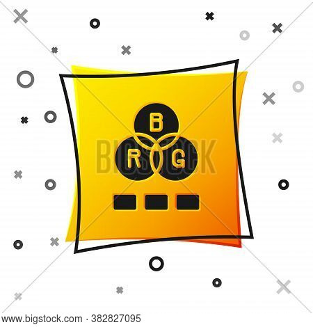 Black Rgb Color Mixing Icon Isolated On White Background. Yellow Square Button. Vector