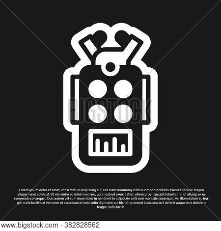 Black Microphone Icon Isolated On Black Background. On Air Radio Mic Microphone. Speaker Sign. Vecto