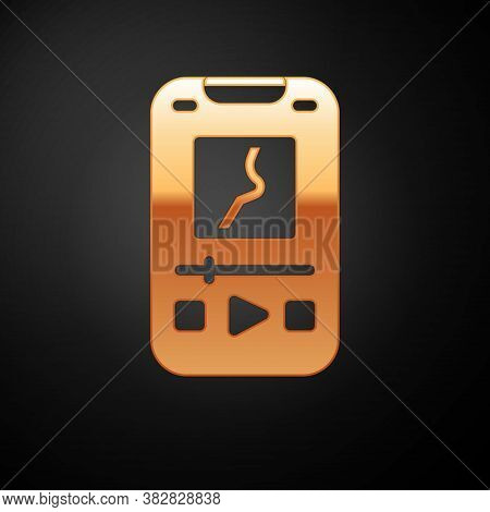 Gold Music Player Icon Isolated On Black Background. Portable Music Device. Vector